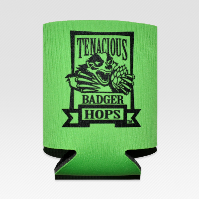 Tenacious Badger Can Koozie - Front